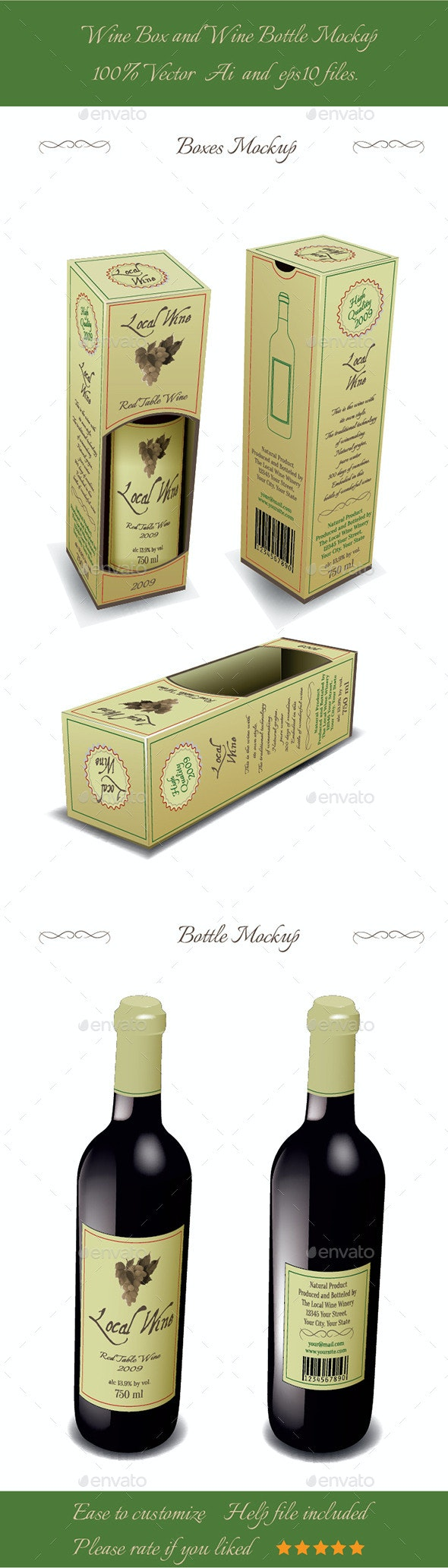 Wine Box And Wine Bottle Mockup. - Miscellaneous Characters