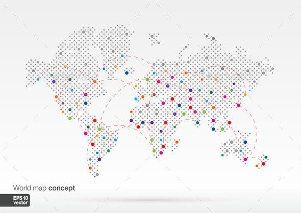 Stylized World Map - Communications Technology