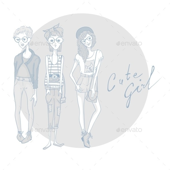 Young Fashion Girls - People Characters