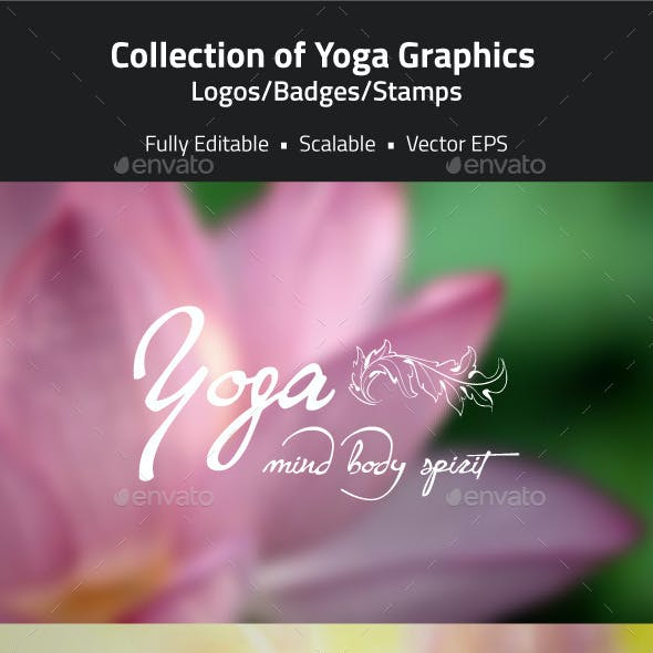 Yoga Related Logos, Badges, Stamps