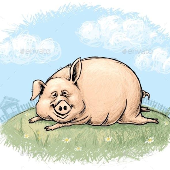 Pig with Landscape