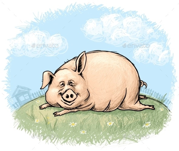 Pig with Landscape - People Characters