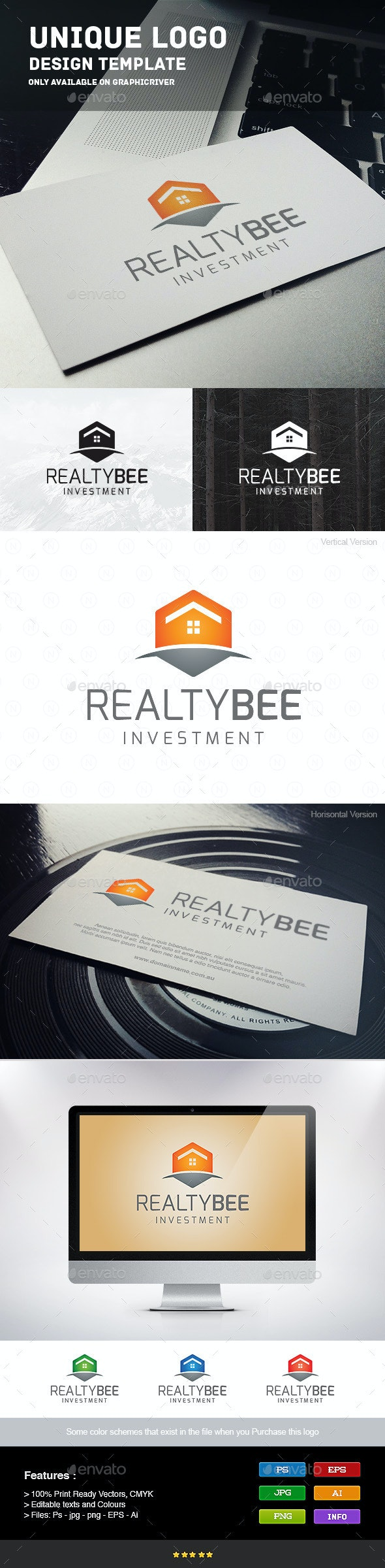 Realty Bee - Buildings Logo Templates