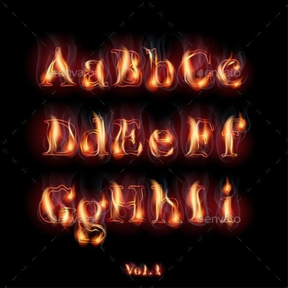 Burning Letters - Decorative Symbols Decorative