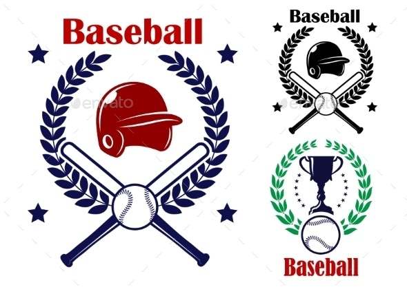 Three Baseball Emblems or Badges - Sports/Activity Conceptual