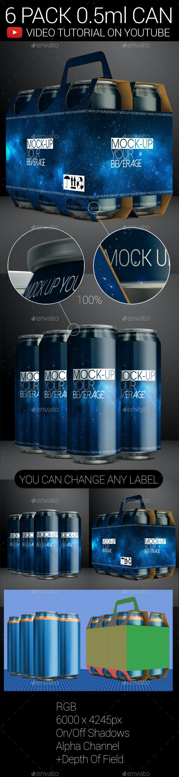 6 Pack 0.5ml Can 02 - Food and Drink Packaging
