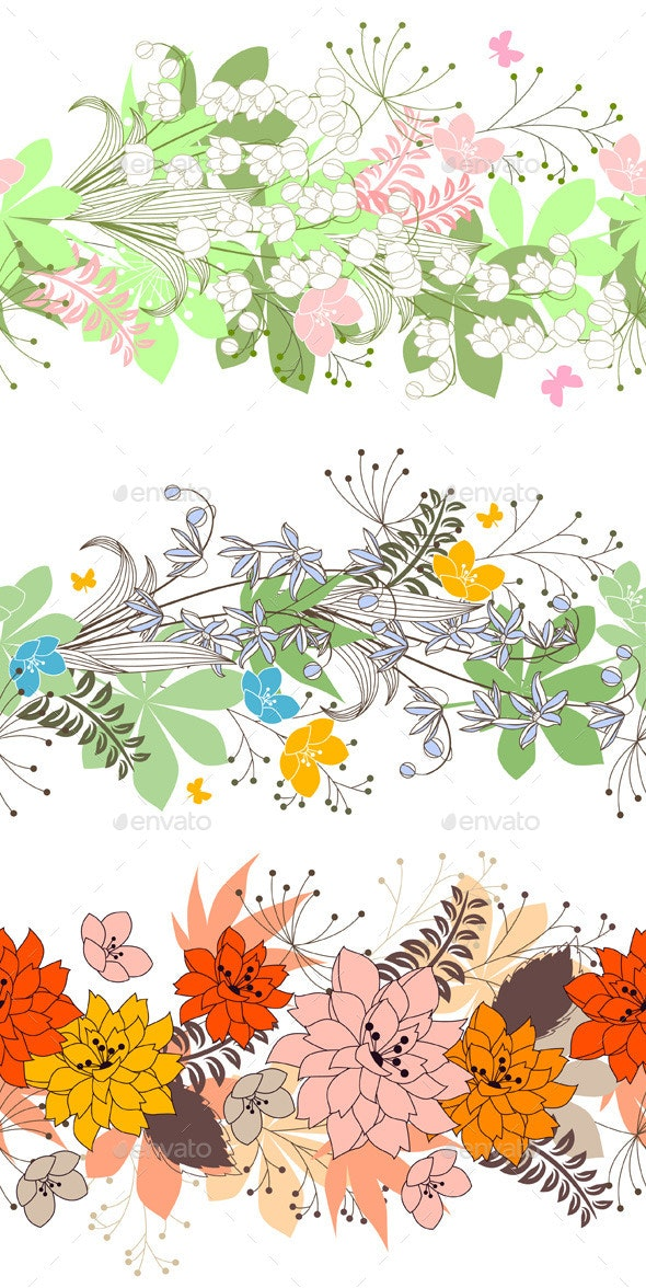 Three Seamless Borders with Flowers - Borders Decorative