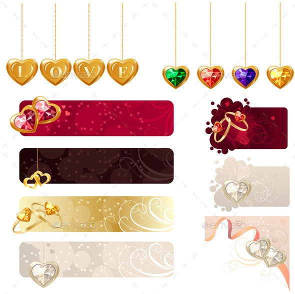 Set with Jewellery Banners with Rings and Hearts - Man-made Objects Objects