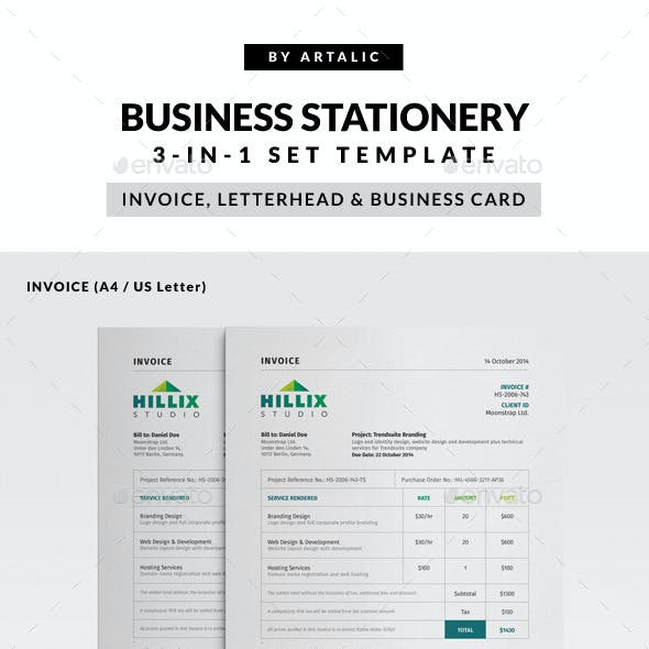 Invoice, Letterhead & Business Card Set