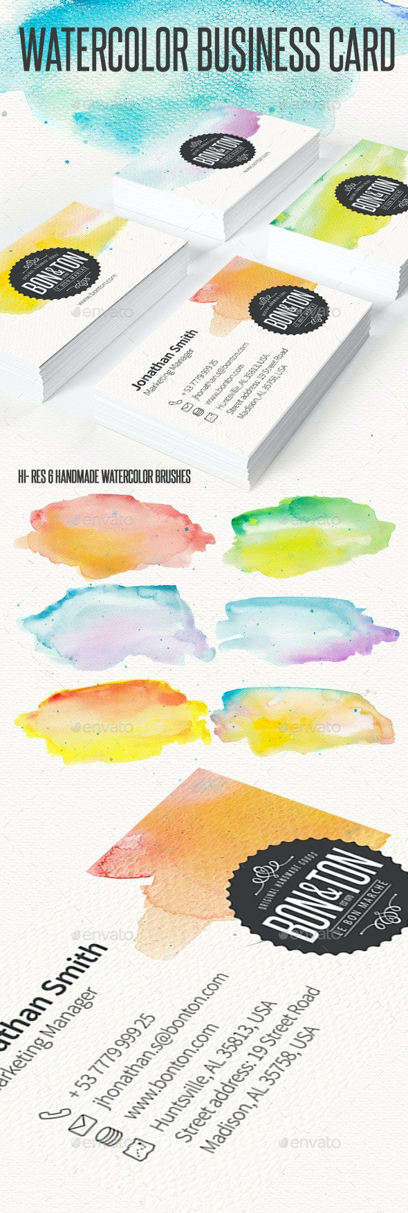 Watercolor Creative Business Card - Creative Business Cards