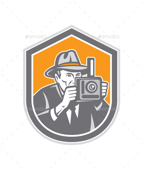 Photographer Vintage Camera Retro Shield - People Characters