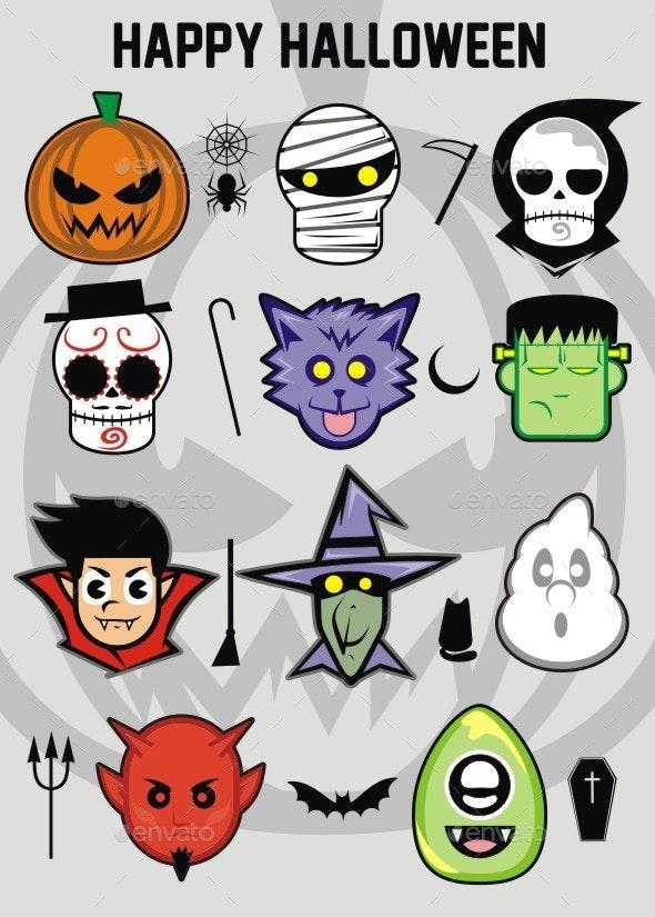 Halloween Sticker Set - Monsters Characters