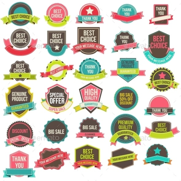 Collection Labels and Ribbons - Decorative Vectors