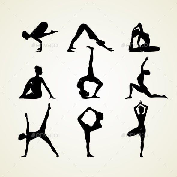 Yoga Pose Silhouettes