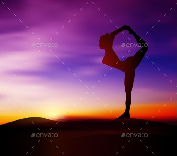Yoga Pose Silhouette - People Characters