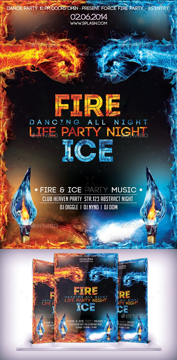Fire & Ice Party Flyer - Events Flyers