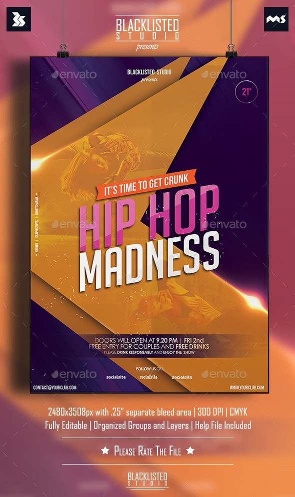 Hiphop Madness Flyer - Flyers Print Templates