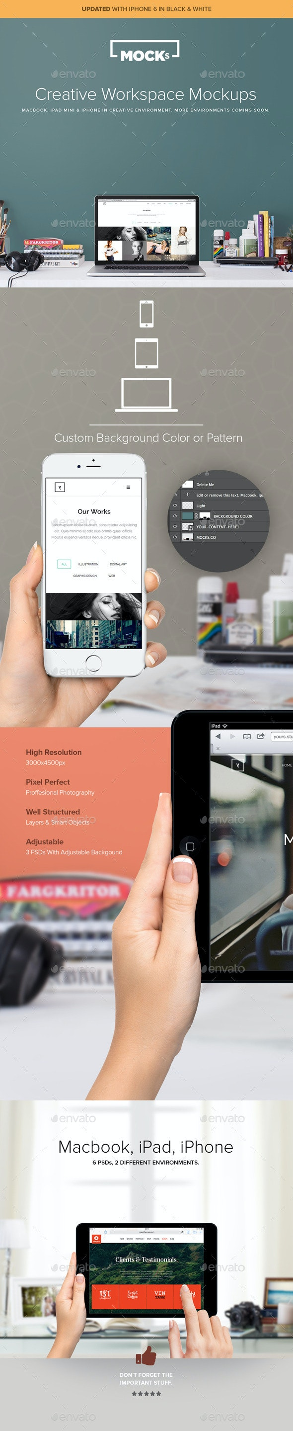 Macbook iPad & iPhone 6 Workspace Mockups - Displays Product Mock-Ups