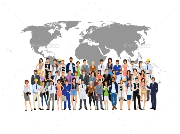 Group of People with World Map - People Characters