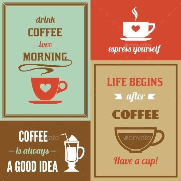 Coffee Mini Poster Set - Backgrounds Decorative