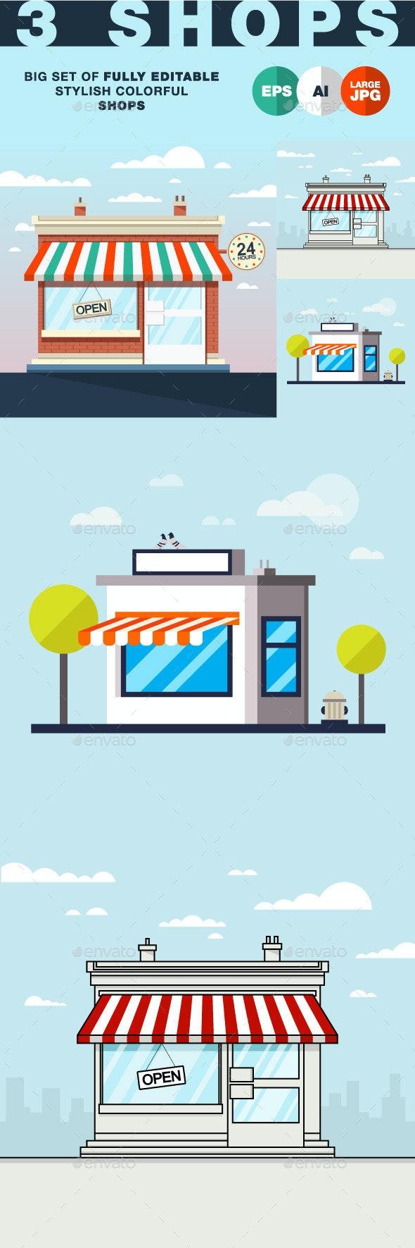 Flat Shop Illustration - Buildings Objects