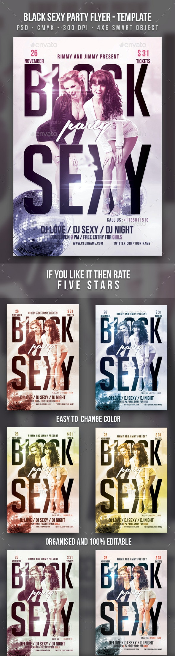 Black Sexy Party Flyer Template - Clubs & Parties Events