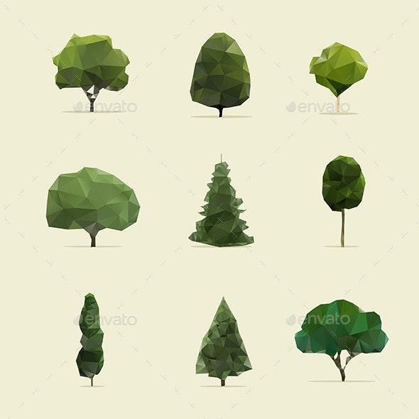 Set of Geometric Trees - Flowers & Plants Nature
