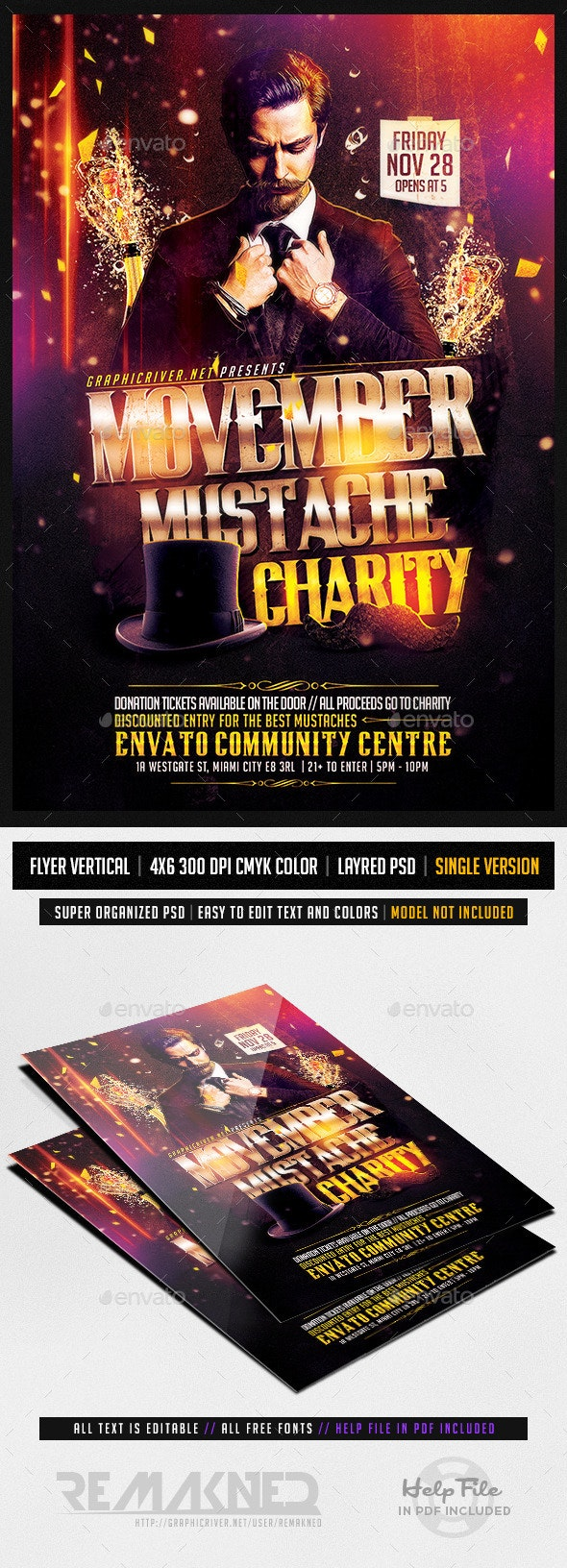 Movember Mustache Charity | Flyer Template PSD - Events Flyers