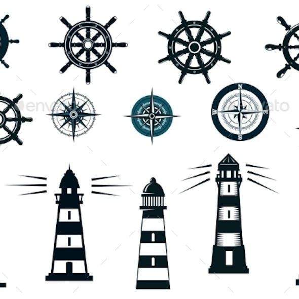 Set of Marine or Nautical Themed Icons