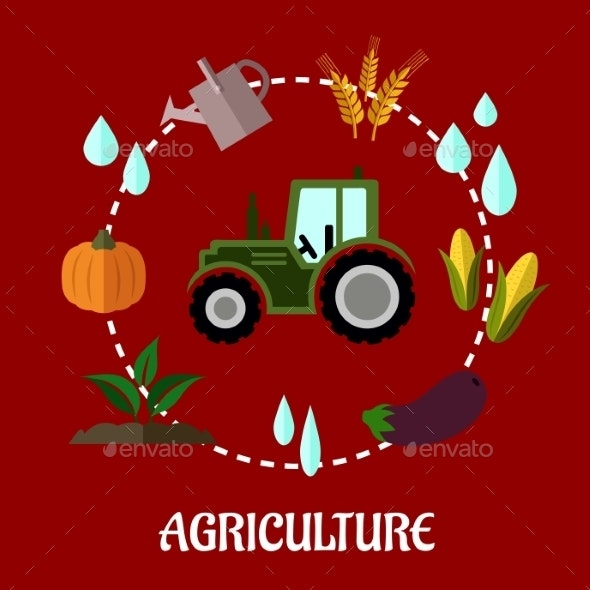 Agriculture Flat Infographic Concept - Industries Business