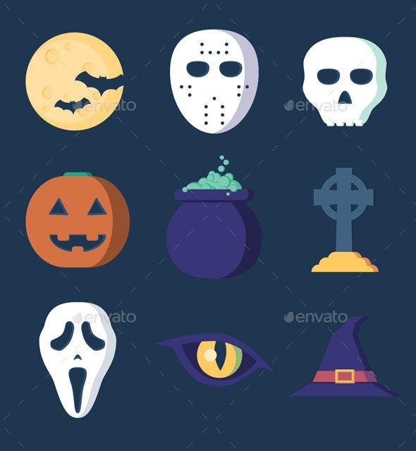 Clean Flat Halloween Set - Halloween Seasons/Holidays