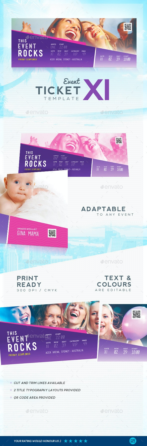 Event Ticket Template 11 - Miscellaneous Print Templates