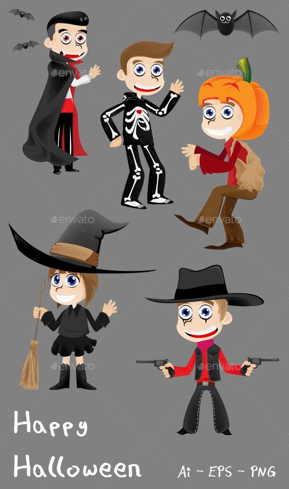 Happy Halloween - Cartoon Kids - People Characters