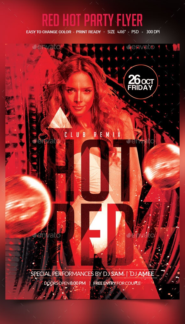 Hot Red Party Flyer - Clubs & Parties Events