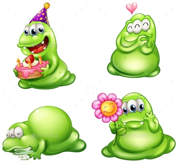Four Green Monsters with Different Activities - Monsters Characters