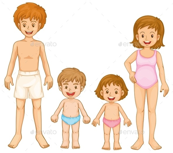 A Family in their Swimming Attire - People Characters
