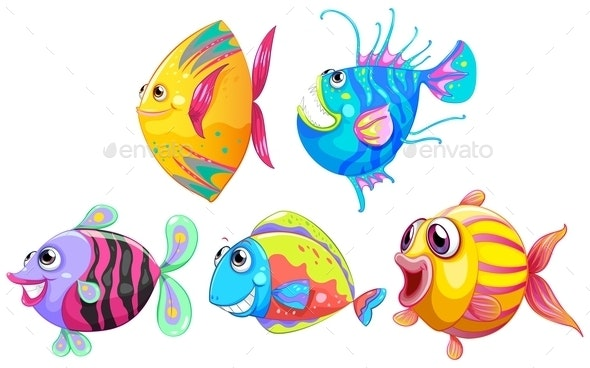 A Group of Smiling Fishes - Animals Characters