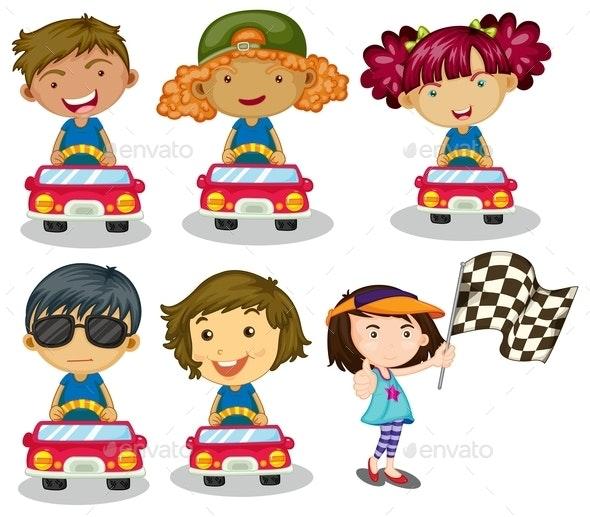Kids Car Racing - People Characters