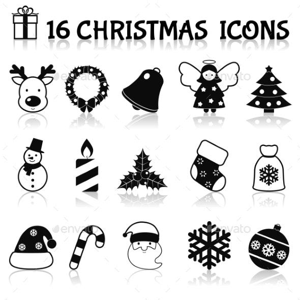 Christmas icons set black - Christmas Seasons/Holidays