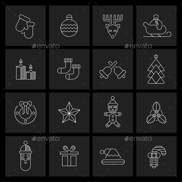 Christmas icons set outline - New Year Seasons/Holidays