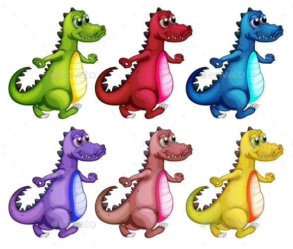 Six Colorful Crocodiles - Animals Characters