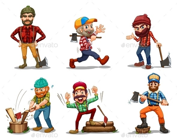 Six Men with Axes - People Characters