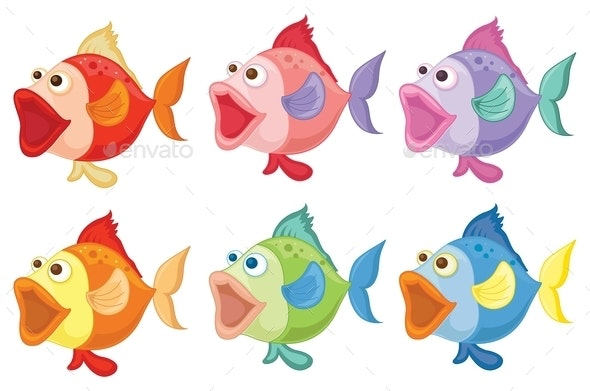Smiling Fishes - Animals Characters