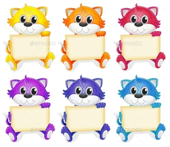 A Group of Cats with Empty Signboards - Animals Characters