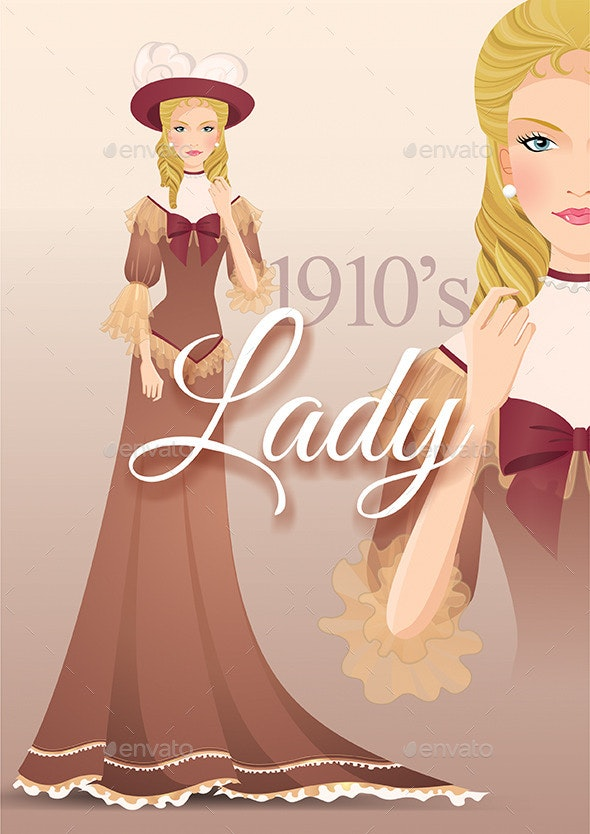 Lady 1910's - Vector Illustration - People Characters