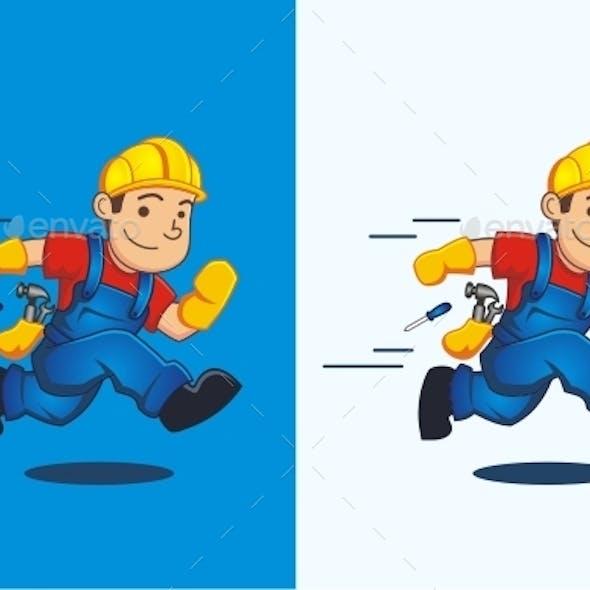 Fast Handyman Mascot