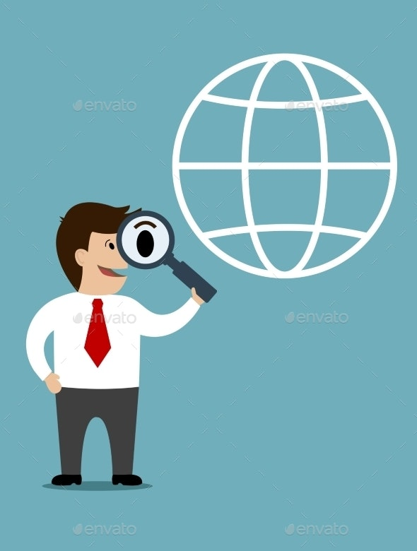 Businessman conducting a global search - People Characters