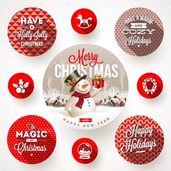 Set of Christmas Greeting Design and Flat Icons - Christmas Seasons/Holidays