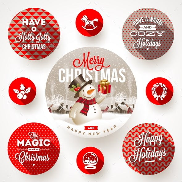 Set of Christmas Greeting Design and Flat Icons