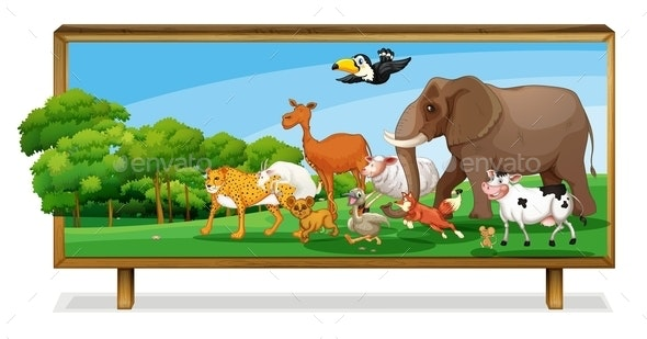 Animals in Jungle on Board - Animals Characters
